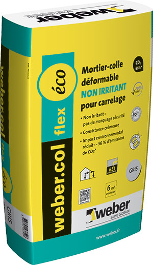 Colle a carrelage flex eco gris en 25kgs sol ext cambrai for Colle carrelage flexible